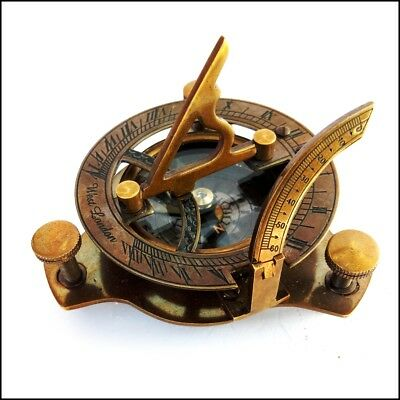 "Brass Nautical Sundial Compass 2.5"" - Working Marine Prop Vintage Collectible"