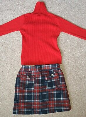 Next Girls Polo Neck top Skirt Outfit Winter Age 9 Red Tartan
