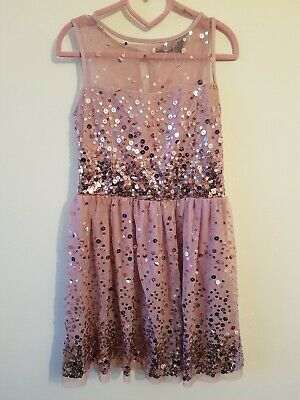 Age 8 Years Dusky Pink Sequin Sparkly Party Dress Christmas New year Occasion