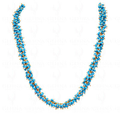 Turquoise Blue & White Color Bead Knotted Necklace & Earrings-Cc1077