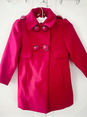 Next Girls Military Coat Red Lined Felt Soldier Zip Up Statement Buttons Age 3-4