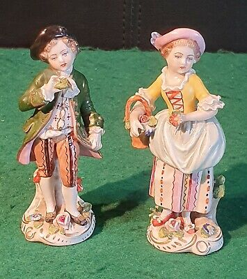 Pair of Antique 19th Century Sitzendorf Dresden Figurines Boy & Girl with Flower