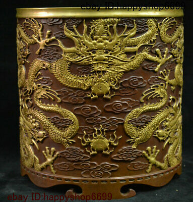 Old Chinese Dynasty Bronze Gilt Dragon Loong Pen Container Brush Pot Pencil Vase