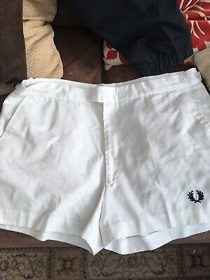 Mens Vintage Fred Perry Sportswear Tennis Shorts White Size 38