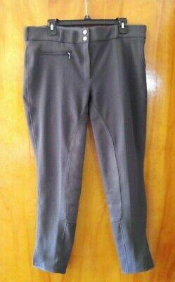 NWOT Tuffrider Full Seat Breeches 34R Low Rise Ribbed Charcoal Gray