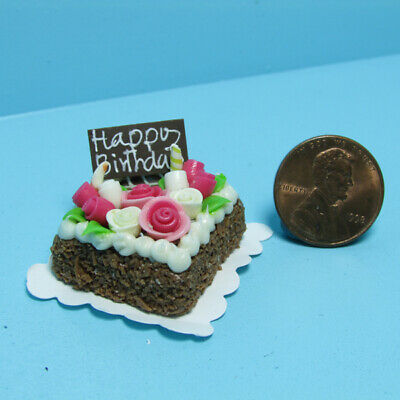 Dollhouse Miniature I Love You Chocolate Cake with Pink Roses ~ G8261