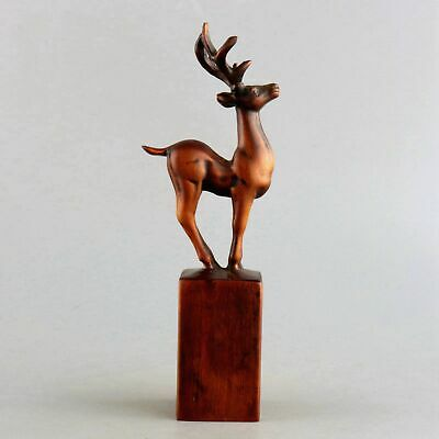 Collection Old Boxwood Hand-Carved Elegant Sika Deer Statue Precious Animal Seal