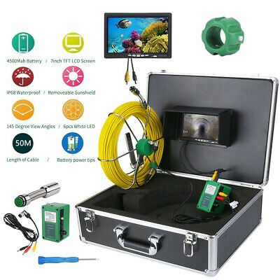 "50M Sewer Waterproof Camera Pipe Pipeline Drain Inspection System 7"" LCD"