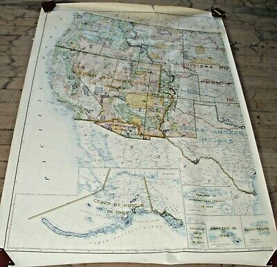1953 United States Territories And Its Interiors Two Piece Wall Map R.f. Bartkle