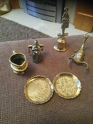 antique / vintage bronze / brass toby jug,elf,scorpion,piper,2 dishes...