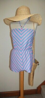 Vtg 60's Candy Stripe Co'ord Halter Neck High Waisted Playsuit Batwing Top Small