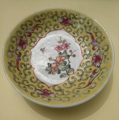 Old Mun Shou Small Painted Dish. 10 cms. Marks