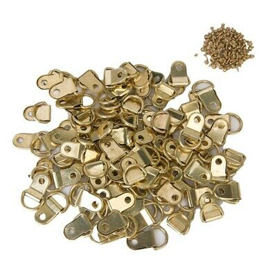 100 PCS Longer D-Ring Picture Frame Hangers Single Hole with Screws Y1Y6