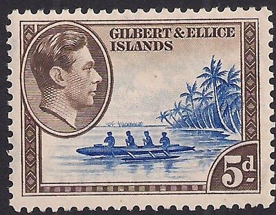 Gilbert & Ellice Islands 1939 - 55 KGV1 5d Island Canoe MM SG 49 ( K1473 )