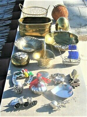Vtg 18 Brass & Silver Plated Decorative Items Incl. Its Argenti, Viners, Zolotas