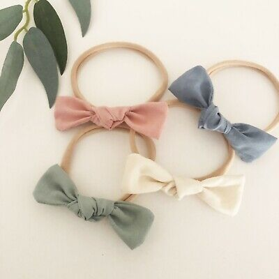 4 x Bow Headband Packs Sage Pink Cream Ivory Blue Baby Girl Newborn Nylon Green