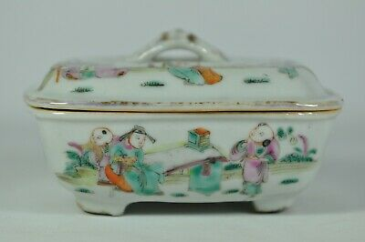 Signed Fine Old China Chinese Famille Rose Porcelain Soap Box Scholar Art
