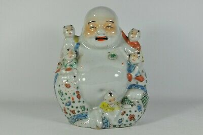 Fine Old China Chinese Famille Rose Porcelain Happy Buddha Statue Scholar Art