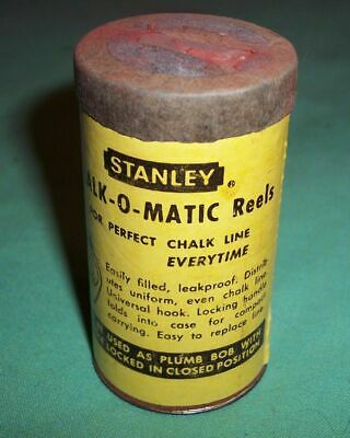VTG STANLEY C2050R RED CHALK-O-MATIC CARDBOARD METAL CONTAINER with CHALK USA