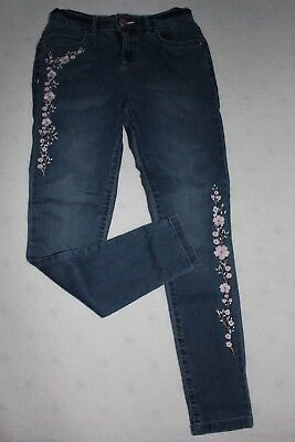 F&F _ JEANS - Lovely jeans with pink flowers , size 9-10 y VGC