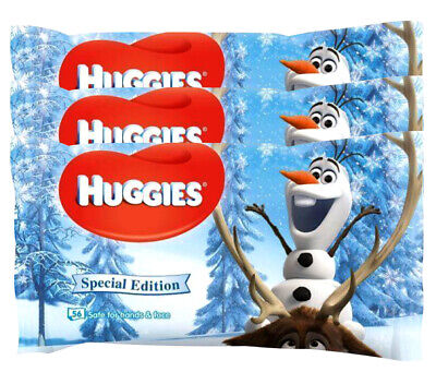 168 Count Huggies Special Edition Disney Frozen Baby Wipes Safe For Hands & Face