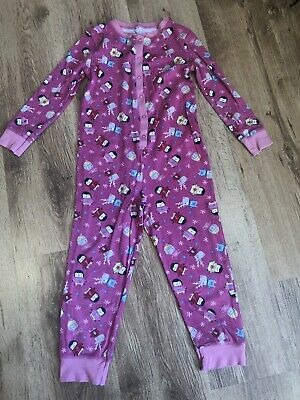 Penguin And Reindeer All In One Pink Pyjamas Age 7-8