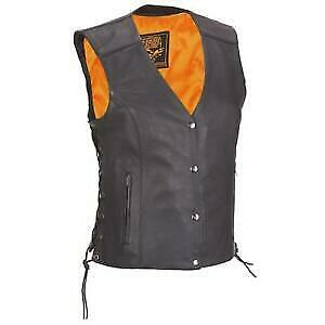 Milwaukee Leather Womens Side Lace Vest With Reflective Piping Size Large