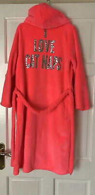 Girls M&S Dressing Gown Night Gown Age 11-12 Bright Coral With Sequins Excellent