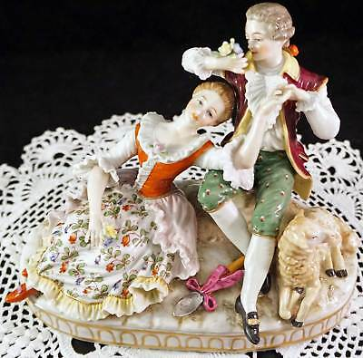 Dresden Porcelain Figurine Group Man Woman Sheep Great Details Sitzendorf Mark