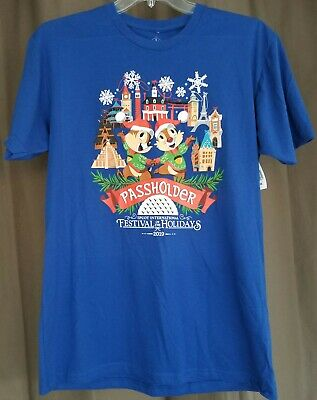 Large Disney Parks Chip & Dale Passholder T-Shirt Epcot Festival of the Holidays