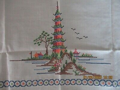 """BEAUTIFUL CROSS STITCH HAND EMBROIDERED TABLECLOTH 48x50"""" Approx Linen"""