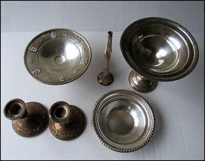 Sterling Silver 925 Bowl Desert Dishes And Candlesticks Lot