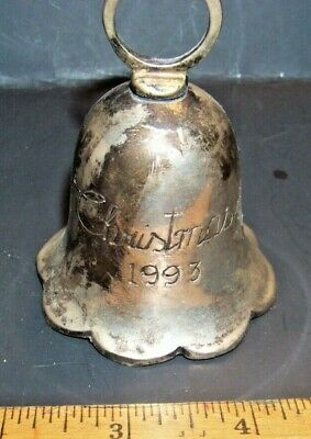 SILVERPLATED CHRISTMAS 1993 BELL -International Silver Co Hand Made- iNDIA