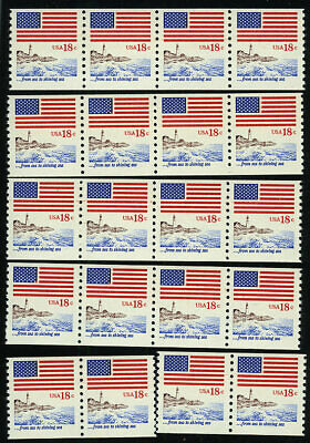 US #1891 18¢ Flag Lighthouse coil wholesale lot 20 stamps NH MNH