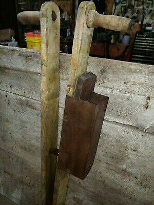 Antique Wooden Hand Corn Seed Planter  Farm Primitive Tool
