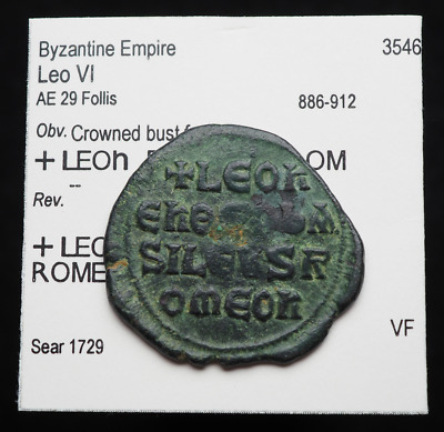 "Leo VI ""The Wise"" AE Follis, AD 886-912, Legend in lines, Ex. Classical Coins"