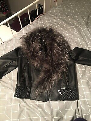 Girls Age 10 Leather Style Jacket With Detachable Fur Collar
