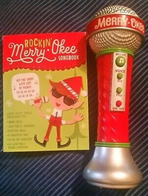 RARE! Hallmark Merry-Okee Karaoke Microphone CHRISTMAS Sound with song booklet
