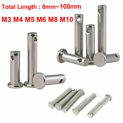 Solid Stainless Steel Clevis 3/4/5/6/8/10mm Pins Link Hinge Pin 8mm-100mm Length