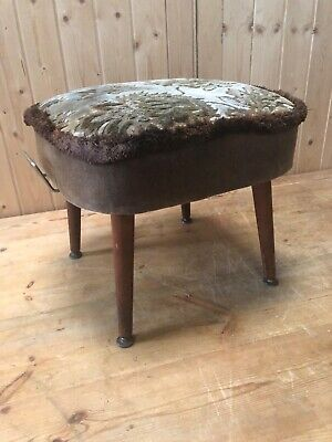 Vintage Mid Century Foot Stool Pouffe With Dansette Legs Retro