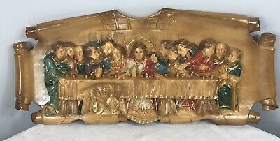 Vintage The Last Supper Carved/Moulded Wall Hanging - 53cm x 24cm