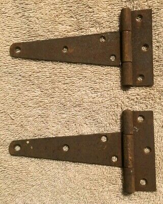 2 Vintage Small Antique Strap Hinges Barn Door Gate Pair Repurpose