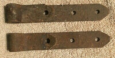 "2 Vintage Small Antique Strap Hinges Barn Door Gate Pair Repurpose 8"" By 1 1/2"""