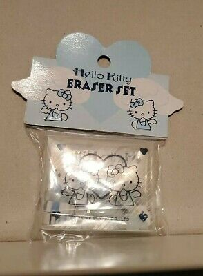 Vintage Sanrio Hello Kitty Eraser Set 1998 - Hello kitty faces and angel wings