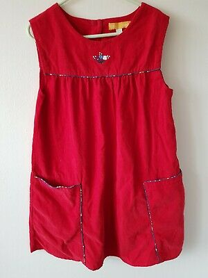 Little Bird age 7-8 Years Red Soft Cord Dress Autumn Winter Christmas party