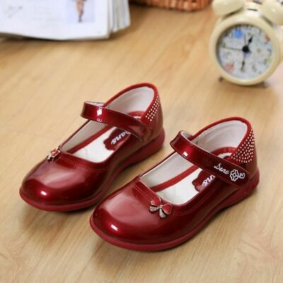 Princess Patent Leather Girls Shoes Children Breathable Solid Kids Shoes Rubber