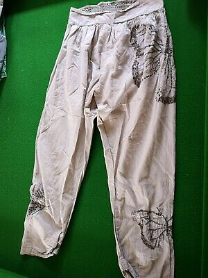 2 Pairs Of Trousers Age 10 Skinny Black Velour And Lightweight Next Beige