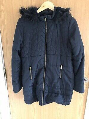 Tu Navy Quilted Coat Faux Fur Lined Hood With Faux Fur Cuffed Age 13-14 VGC