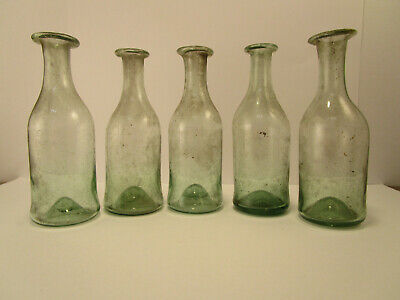 +ANTIQUE+ 5 EARLY quack cure medicine vials / bottles all with PONTIL c1800 WOW