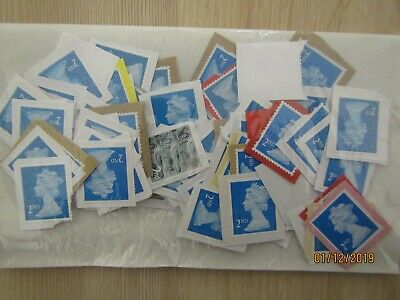 GB, 100 x  2nd class used, unfranked Stamps